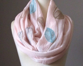 Oversized Infinity Scarf, Floral Scarf, Embroidered Blush Scarf, Powder Pink Pastel Circle Infinity Scarf, Light Spring scarf, Leaf scarf