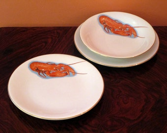 RESERVED FOR N - Signed SARREGUEMINES Digoin Set 12 Large Porcelain Dinner Plates + 8 Matching Soup Bowls-Fab Lobster Motif-Mid Century-