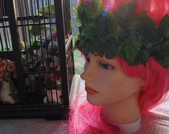 Pinup Summer Headband, Poison Ivy Costume, Leafy Hippie Headband
