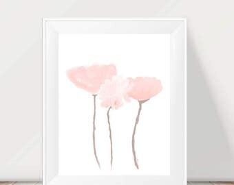 Blush  Flower Artwork, 11x14 Blush Nursery, Blush Wall Decor, Blush Girl's Room, Blush Baby Nursery, Blush Flower Painting, Blush Wall Art