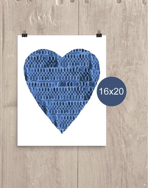 Indigo Heart Poster, 12x16, 16x20