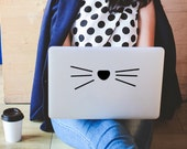 Cat decal, Cat sticker, cat vinyl decal, cat whiskers, cat mom gift, funny cat face, Cat car decal, cat laptop sticker, Cute cat Stickers