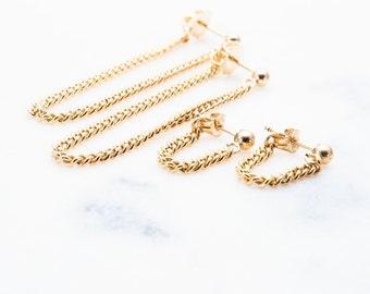 Kalani earrings - gold chain earring, gold drop earring, chain stud earring, gold filled earring, long gold earring, edgy earring, hawaii