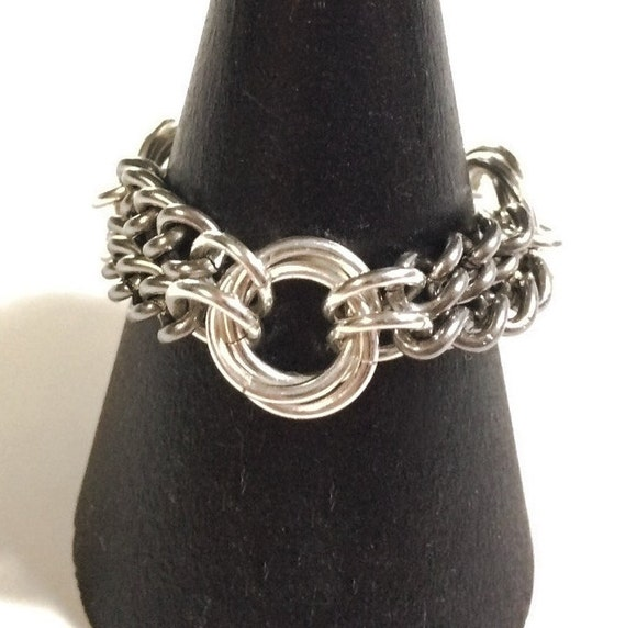 infinity sterling silver and stainless steel flower ring