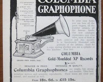 Columbia, 1904, vintage, ad, original, graphophone, music, English, advertisement, free shipping, paper, ephemera