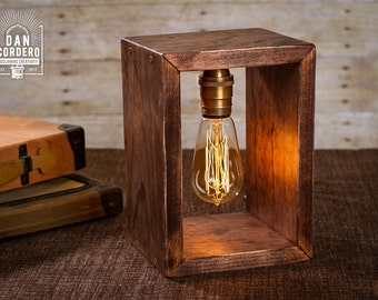 Shadow Box Edison Lamp | Table Lamp | Desk Lamp | Bedside Light | Night Light | Wood | Lamp | Edison Bulb | Industrial
