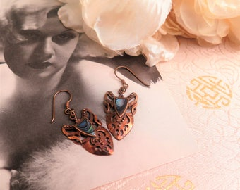 Vintage Copper Earrings - Vintage Abalone Earrings - Paua Earrings - Art Nouveau Style Earrings - Drop Earrings - Earrings for Pierced Ears