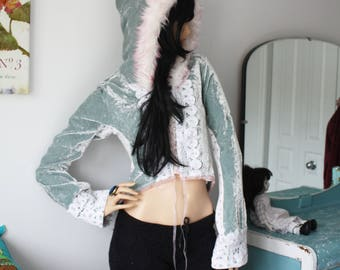 crushed velvet and lace BELL SLEEVE JACKET pixie bohemian sage pink fun fur festival