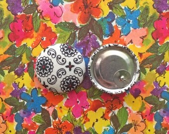 Wholesale Earrings / Fabric Covered Button Earrings / Studs / Gifts for Her / Black and White / Costume Jewelry / Oversized Earrings / Bulk