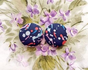 Button Earrings / Wholesale Jewelry / Splatter Paint / Fabric Covered / Stud Earrings / Liberty of London / Bridesmaid Jewelry / Gift Ideas