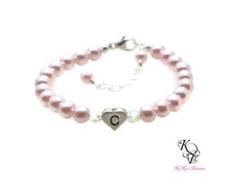 Personalized Baby Bracelet Heart Baby Bracelet Swarovski Pearl Baby Bracelet Baby Gifts Baptism Gift Baby Keepsake Gift Baby Jewelry