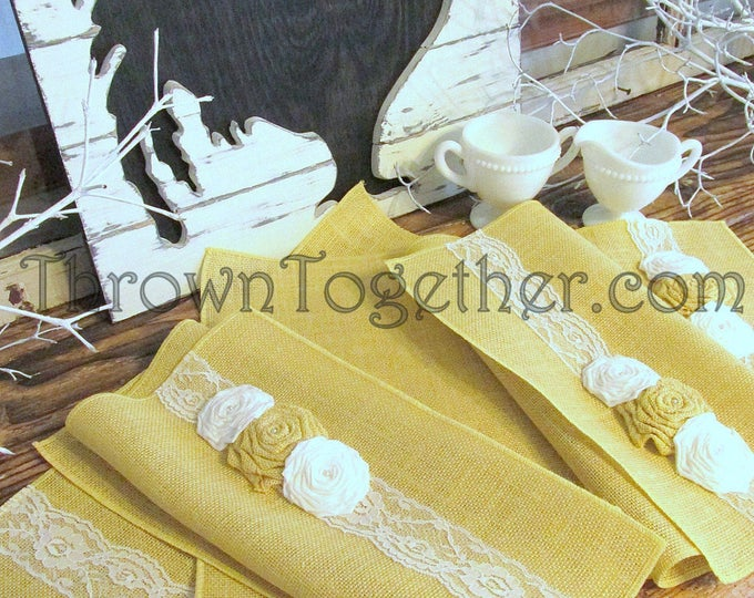 """Butter Yellow & White Placemat Set, Spring Easter Table Decor, Yellow Burlap White Lace Table Decor, Burlap Placemats Set of 6, 14"""" x 20"""""""