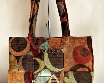 Fabric Purse handmade Tote Bag Lap Top Bag with shoulder straps made from recycled materials by Cant Have Enough