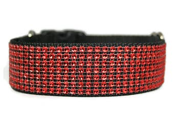 "Red Rhinestone Dog Collar 5/8"", 3/4"", 1"" or 1.5"" Buckle or Martingale Black Dog Collar"