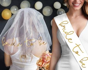Gold Foil Bride To Be Sash & Veil Set - Bridal accessory, Bridal Shower Gift, Bachelorette Sash, Bachelorette Party Gift, bride sash, veils