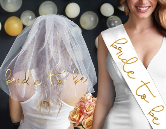 Gold Foil Bride To Be Sash Veil Set Bridal Accessory