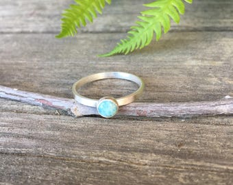 Blue Larimar Ring, Sterling Silver Simple Stone Ring, Blue Stone Jewelry, Bezel Set Stacking Ring