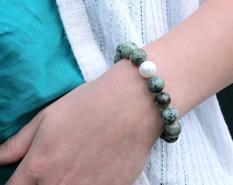 Turquoise Stretch Bracelet - Natural Stone Elastic Bracelet With White Shell Pearl - Gift for Her - Summer Bracelet
