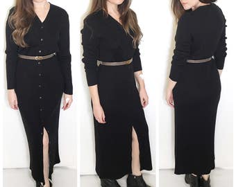 Vintage 80s black ribbed maxi dress button front long sleeve sweater dress size medium