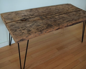 Reclaimed Barn Wood Coffee Table Bench Black Hairpin Legs Distressed Rustic  Antique Barnwood 1700s 1800s 42