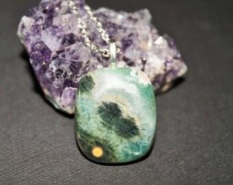 25% OFF SALE Green Ocean Jasper Necklace, Jasper Pendant, Gemstone Jewelry, Fancy Natural Jasper