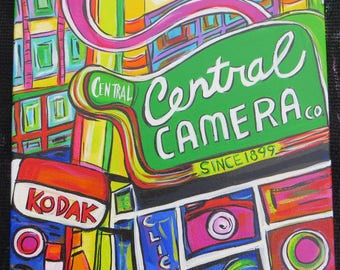 Central Camera - A Chicago Storefront - 12x12 Inch Original Original Acrylic Painting - Pop Art - Color Your World