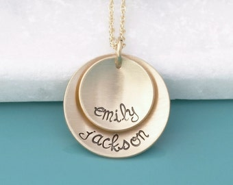 Gold Mom Necklace with Kids Names - Layered 14k gold fill Round Plate Pendant with Name Stamped Necklace - Gold Mom's Mother's Necklace