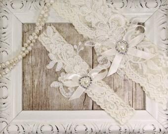 Light Ivory Beaded Lace Wedding Garter Set, Ivory Lace Garter Set, Toss Garter, Keepsake Garter, Customizable Handmade, Prom, Wedding Gift