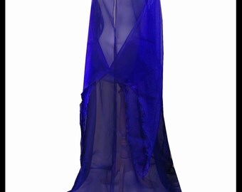 Beautiful Royal Blue Shimmer Organza Cloak with Sleeves. Ideal for a Summer Wedding, Handfasting or Medieval Event. Made Especially For You.