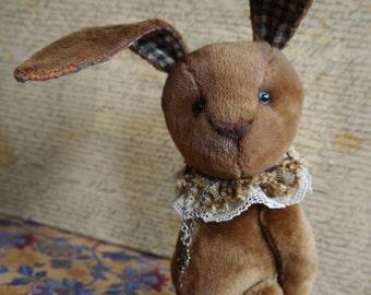 OOAK Artist Teddy Bunny Carletto-/viscose-cotton / 7 inches tall/