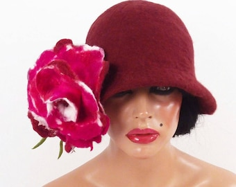 Flower Hat Felted Hat Cloche Hat Flapper hat Burgundy Hat LA BELLE EPOQUE Felt Hat Retro Hat Jazz art deco wool felt nunofelt nuno felt