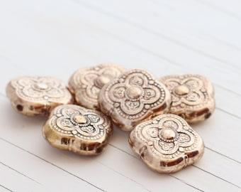 Vintage Antiqued Clover Shaped Bead - Metallic Light Gold - 18mm - 6 beads