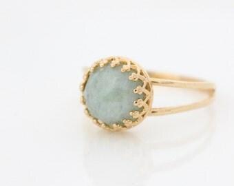 Aquamarine ring • Gold ring set with an aquamarine gemstone • March birthstone • Birthstone ring