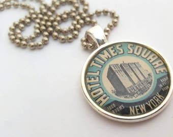 Hotel Times Square Silver Tray Pendant - Necklace with Stainless Steel Ball Chain -vintage travel - New York