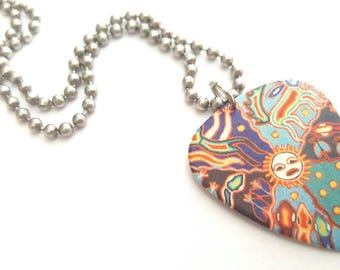 Colorful Design Guitar Pick Necklace with Stainless Steel Ball Chain
