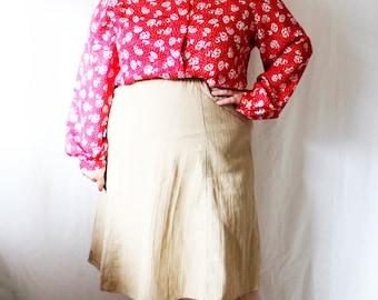 Plus Size - Vintage FINAL SALE Red & White Floral Jacquard Blouse (Size 24W)