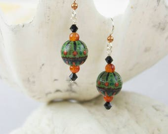 Hand Painted Wood Earrings Bohemian Green Rust and Orange Beads with Carnelian, Copper and Black Crystal Beads and Sterling Silver Ear Wires