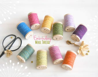 Wool Embroidery Thread - 100% Wool Thread - Rustic Wool Thread - Moire Wool Thread - Colorful Thread - Thread on a Wooden Spool - Colorful