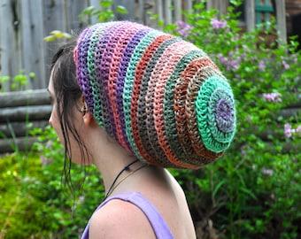 Slouchy Spiral Hat with Drawstring // 100% Wool Adjustable Crochet Dreadlock Tam