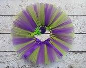 Tinkerbell Tutu - Baby Tutu Set - Girl Cake Smash Outfit - Purple & Green Tutu - First Birthday Tutu Headband Set - Photo Prop Newborn Tutu