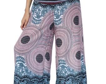 Women Trousers mandala Wide Leg Palazzo Style Maxi Pants Gypsy Rayon Pants Boho Strenchy Pants Clothing Beach Elastic Waist Pants PZ05-White