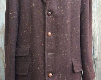 "1950's Vintage Overcoat // Plus Sized //  Brown Fleck // ""Airman"" // Leather Buttons // Bold Collar"
