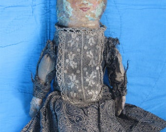 """Antique Oil Painted 13"""" Rag Doll, Calico Outfit"""