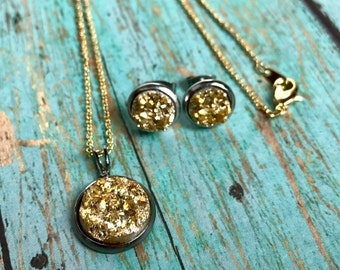NEW Druzy Necklace and Earring Set, Bridesmaid Gift, Easter Gift, Faux Druzy, Tarnish Free, Stainless Steel Stud Earrings, Gift Set