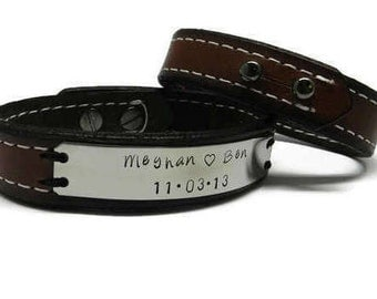 Name and Date Matching Couples Personalized Leather Bracelet Set, Boyfriend Girlfriend hand stamped jewelry - Husband Wife 3rd Anniversary