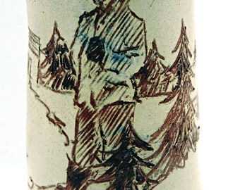 Sgraffito Pottery Vase Russian Outdoor Woodsman Scene CCCCP 1930's Pottery