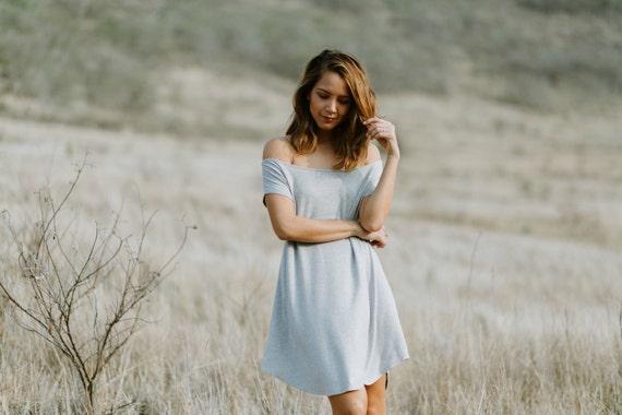 Darla Off The Shoulder Dress / Light Heather Gray or Black