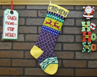 Purple Hand Knit Christmas Stocking with Yellow Cuff, Reindeer and Ivy, Fair Isle Knit, Colorful, Can be Personalized, Housewarming Gift