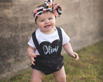 Black Bubble Suspender Shorts - Baby Toddler Girl