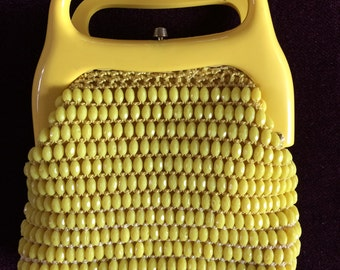 Little Yellow Beaded Bag with Molded Plastic Handles from the 1970s